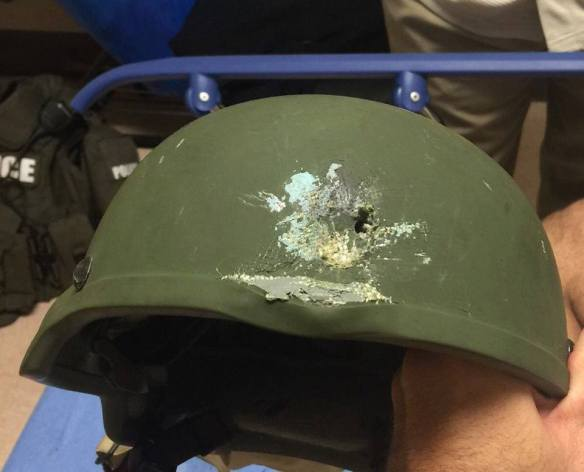 @OrlandoPolice Pulse shooting: In hail of gunfire in which suspect was killed, OPD officer was hit.  Kevlar helmet saved his life.