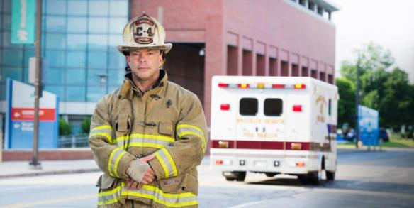 Fire Captain Jay Northup suffered a severe head injury, two ruptured eardrums, second-degree burns, and multiple bruises and cuts requiring 35 stitches after an accident involving fireworks. AMERICAN ACADEMY OF OPHTHALMOLOGY